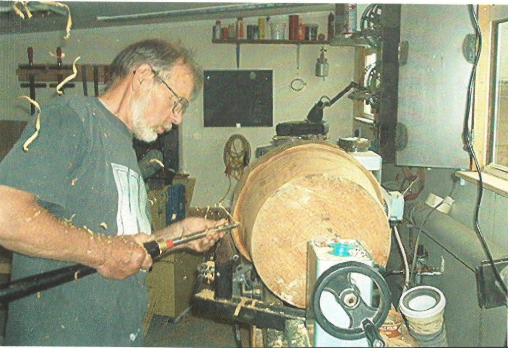 Mick Merritt at work wood turning